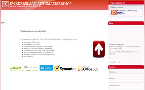 Screenshot of Home Page kwekerslaan.nl - Start | Kwekerslaan automatisering* - captured Oct. 6, 2014