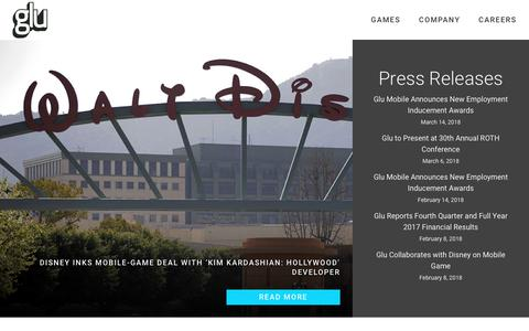 Screenshot of Press Page glu.com - News | Glu - captured March 20, 2018