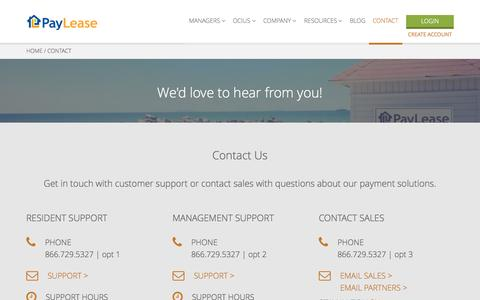 Screenshot of Contact Page paylease.com - Contact Us | PayLease - captured July 3, 2015