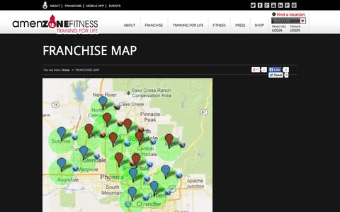 Screenshot of Maps & Directions Page amenzone.com - FRANCHISE MAP - Amenzone Fitness - captured Oct. 4, 2014