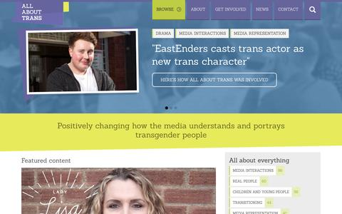 Screenshot of Home Page allabouttrans.org.uk - All About Trans - Positively changing how the media understands and portrays transgender people - captured Oct. 9, 2015