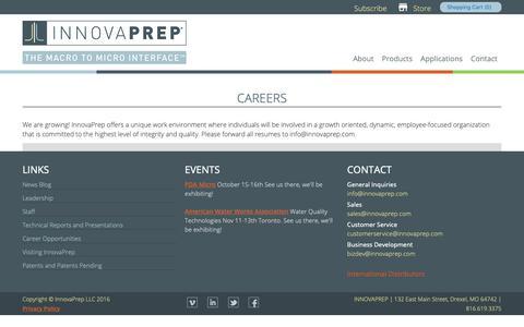 Screenshot of Jobs Page innovaprep.com - Careers   InnovaPrep LLC - captured Oct. 12, 2018