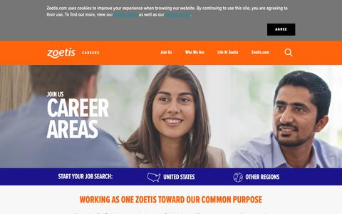 Screenshot of Jobs Page zoetis.com - Career Areas - captured Jan. 10, 2019