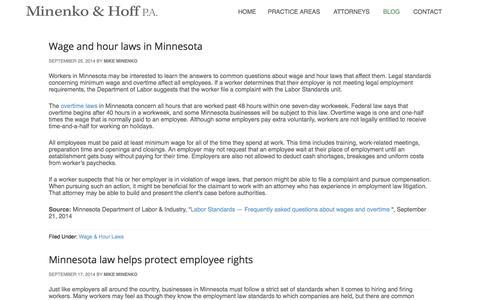 Screenshot of Blog minenkohoff.com - Blog – Minneapolis Employment Law & Business Litigation Lawyer | St. Paul Employment Discrimination Lawyer | Edina Non-Compete Agreements - captured Oct. 19, 2017