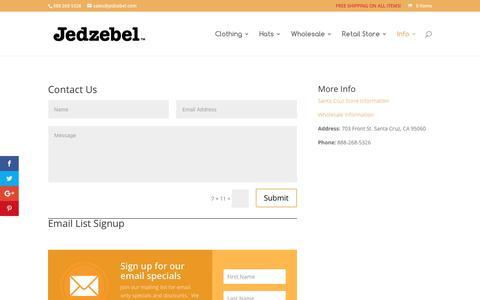 Screenshot of Contact Page jedzebel.com - Contact Us | Jedzebel - captured Nov. 18, 2016