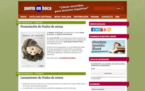Screenshot of Home Page puntoenboca.com - Editorial Punto en Boca - captured Oct. 2, 2014