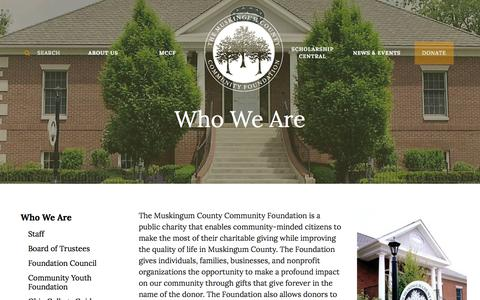 Screenshot of About Page mccf.org - Muskingum County Community Foundation : About Us : Who We Are : Who We Are - captured Feb. 15, 2016