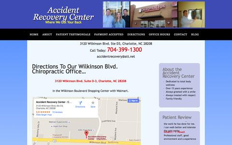 Screenshot of Maps & Directions Page charlotte-chiropractic.com - Directions to the Accident Recovery Center | 3120 Wilkinson Blvd. Suite D-3, Charlotte, NC 28208 - captured Feb. 5, 2016