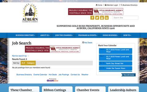 Screenshot of Jobs Page auburnchamber.net - Job Search - Auburn Chamber of Commerce- CA, CA - captured Jan. 25, 2018
