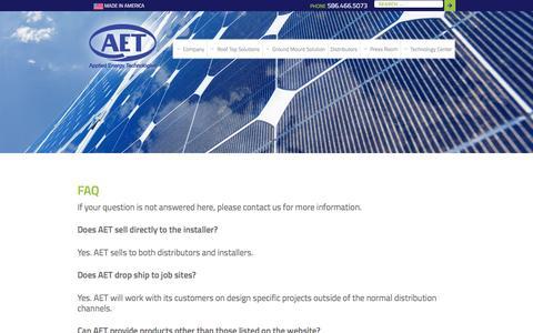 Screenshot of FAQ Page aetenergy.com - FAQ - Applied Energy Technologies - captured Feb. 6, 2016