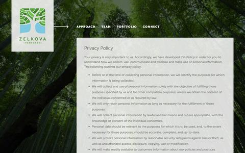 Screenshot of Privacy Page zelkovavc.com - ZelkovaVC Âť Privacy - captured Jan. 24, 2016