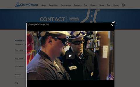 Screenshot of Contact Page chemdesign.com - Chemical Engineering Careers | Toll Processing | Toll Manufacturer | Chemical Outsourcing | Chemical Engineering Resources | ChemDesign - captured Dec. 8, 2015