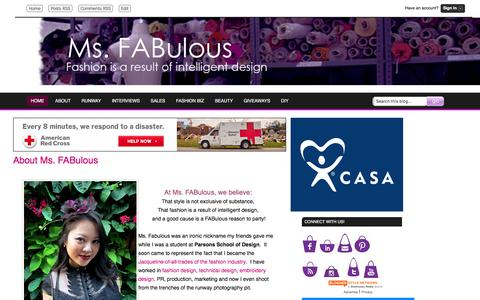 Screenshot of About Page msfabulous.com - MS. FABULOUS: About Ms. FABulous fashion design, indie clothing, style, beauty - captured Oct. 30, 2017