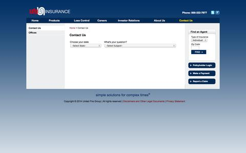 Screenshot of Contact Page unitedfiregroup.com - United Fire Group - captured Oct. 27, 2014