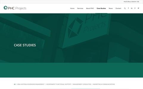 Screenshot of Case Studies Page phcprojects.com.au - Case Studies | PHC Projects - captured Sept. 27, 2014