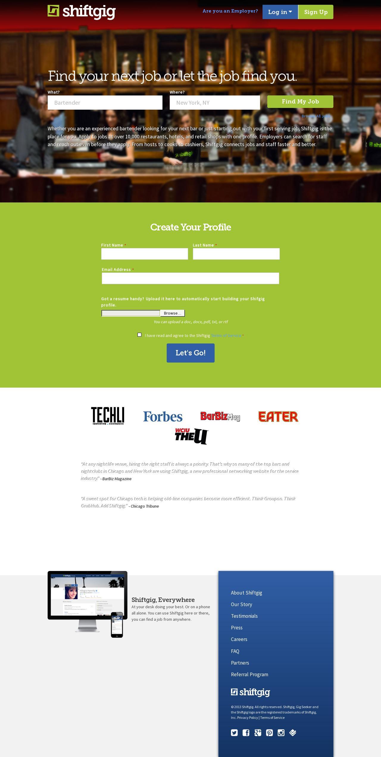 Web Design Example   A page on shiftgig com   Crayon