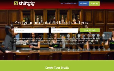 Screenshot of Home Page shiftgig.com - Shiftgig | Find or List Restaurant Jobs and Bartending Jobs - captured July 11, 2014