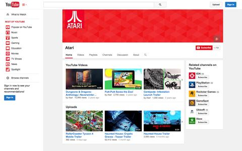 Screenshot of YouTube Page youtube.com - Atari  - YouTube - captured Oct. 22, 2014