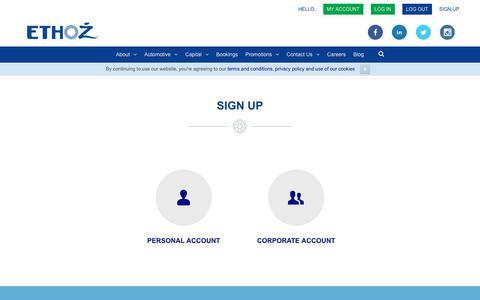 Screenshot of Signup Page ethozgroup.com - Sign Up - ETHOZ - captured July 12, 2017