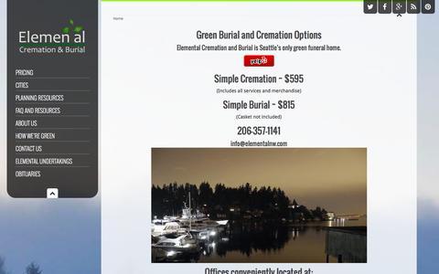 Screenshot of Home Page elementalnw.com - Seattle Cremation & Burial   Elemental Cremation & Burial - captured Jan. 27, 2016