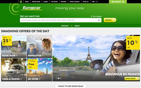 Screenshot of Home Page europcar.com - Car Rental - Rent A Car Worldwide - Car and Van Rentals | Europcar - captured July 24, 2015
