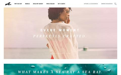 Screenshot of Home Page searay.com - Sea Ray: Shop Sport Boats, Deck Boats, Bowriders, & Yachts - captured March 23, 2019