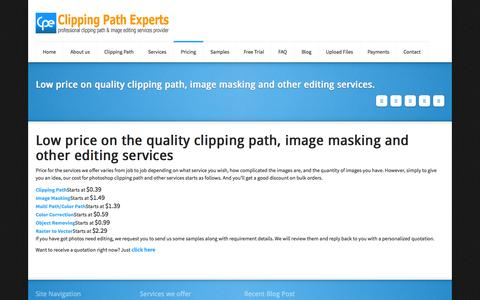 Screenshot of Pricing Page clippingpathexperts.com - Low price on quality clipping path, image masking and other editing services.Clipping Path Experts (CPE) - captured Sept. 30, 2014
