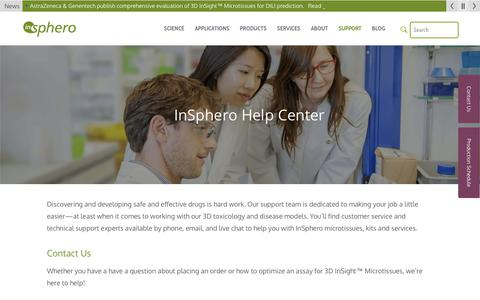 Screenshot of Support Page insphero.com - Support | InSphero - captured Oct. 11, 2018