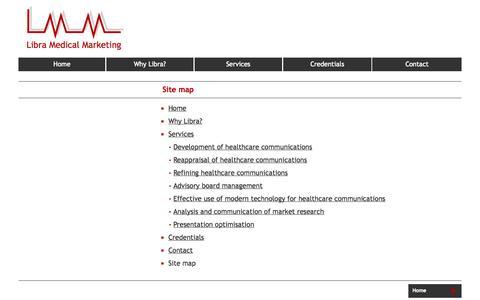 Screenshot of Site Map Page libramedmarketing.co.uk - Site map - captured Oct. 2, 2014
