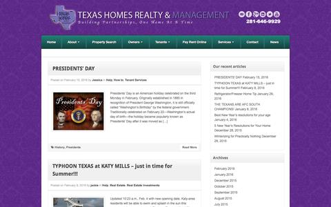 Screenshot of Press Page txhomesrealty.com - Texas Homes Realty & Property Management - captured Feb. 25, 2016