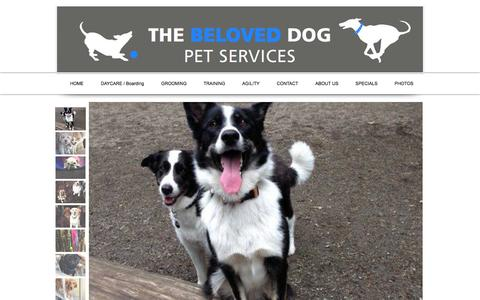 Screenshot of Home Page thebeloveddog.com - The Beloved Dog | Doggy Daycare, Dog Grooming, Pet Food, Dog Walks, - captured Sept. 30, 2014