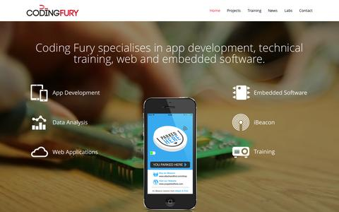 Screenshot of Home Page codingfury.com - App Development & Training - Coding Fury - captured June 18, 2015