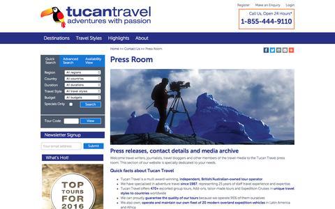 Screenshot of Press Page tucantravel.com - Press Room - captured Aug. 16, 2016