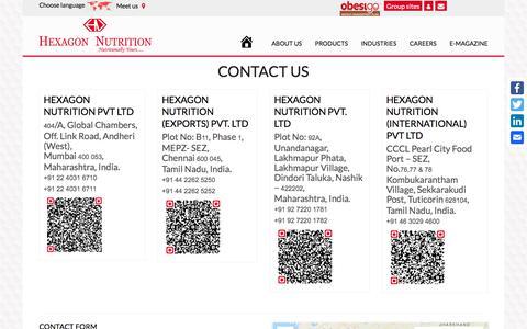 Screenshot of Contact Page hexagonnutrition.com - Contact Us | Hexagon Nutrition - captured Sept. 25, 2018