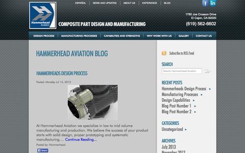 Screenshot of Blog hammerheadaviation.com - Hammerhead Aviation Blog | Hammerhead Aviation Manufactures Composite parts for Aviation, automotive, motorcycle and Marine industries.Hammerhead Aviation - captured Sept. 29, 2014