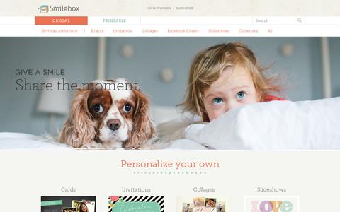 Screenshot of Home Page smilebox.com - Invitations, Collages, Slideshows and Scrapbooks – Smilebox - captured July 11, 2014