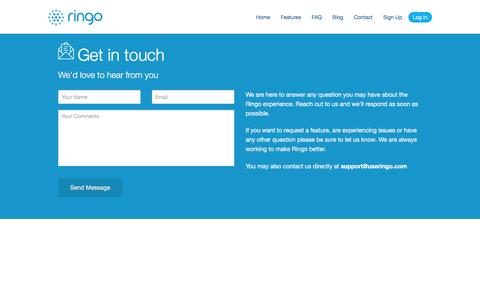 Screenshot of Contact Page useringo.com - Ringo | A Smarter Apartment Buzzer for Multiple Cell Phones - captured Dec. 1, 2016