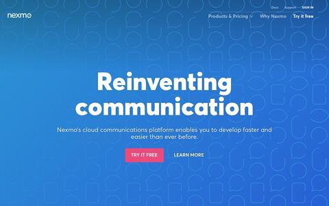 Screenshot of Home Page nexmo.com - Home - Nexmo :Nexmo - captured Feb. 12, 2016