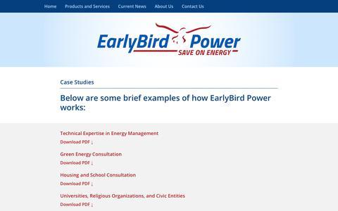 Screenshot of Case Studies Page earlybirdpower.com - Case Studies | - captured Nov. 4, 2018