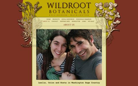 Screenshot of About Page wildrootbotanicals.com - Wildroot Botanicals, Bellingham, WA : About Us - captured Oct. 7, 2014