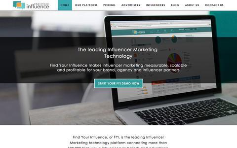 Screenshot of Home Page findyourinfluence.com - Influencer Marketing Platform | Social Media Influencer Platform - FindYourInfluence - captured June 21, 2017