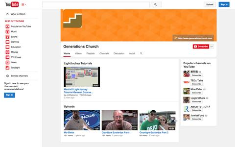 Screenshot of YouTube Page youtube.com - Generations Church  - YouTube - captured Oct. 22, 2014