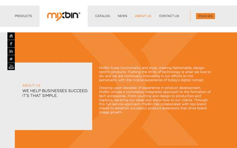 Screenshot of About Page getmixbin.com - about us - MIXBIN - captured Oct. 1, 2014