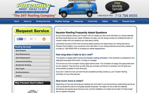 Screenshot of FAQ Page precisionroofcrafters.com - Houston Roofing FAQ's - Frequenly Asked Questions, Roof Question and Answer, Galveston, Houston, TX - captured Jan. 30, 2016