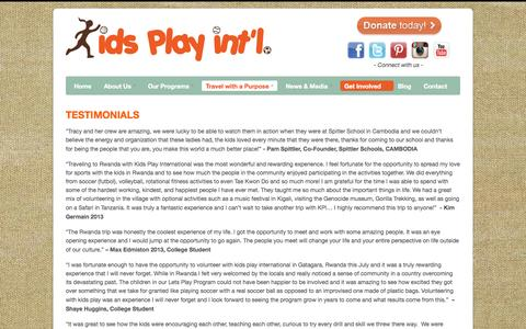 Screenshot of Testimonials Page kidsplayintl.org - Testimonials for traveling with a purpose for Kids Play International | Kids Play Int'l - captured Oct. 6, 2014