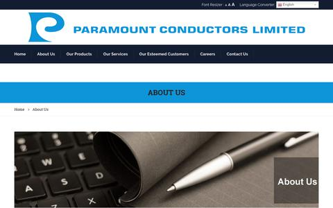 Screenshot of About Page paramountconductors.com - About Us – Paramount Conductors - captured Sept. 25, 2018