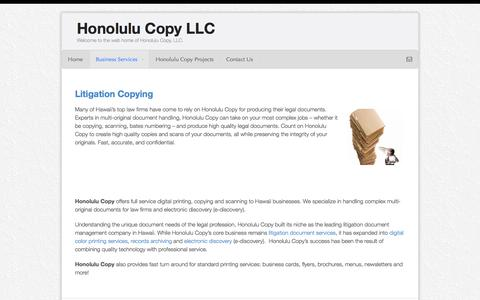 Screenshot of Home Page honcopy.com - Honolulu Copy Business ServicesHonolulu Copy LLC - captured Oct. 3, 2014
