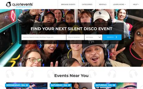 Screenshot of Home Page quietevents.com - Silent Disco Events with Headphones | Quiet Events - captured July 25, 2018