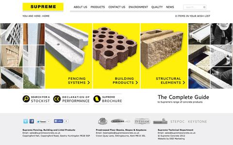 Screenshot of Home Page supremeconcrete.co.uk - Home - captured Oct. 8, 2014
