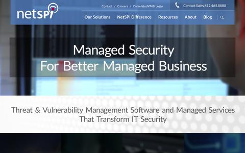 Screenshot of Home Page netspi.com - Threat & Vulnerability Management Software and Managed Services That Transform IT Security | Pentesting Companies - captured Feb. 8, 2016